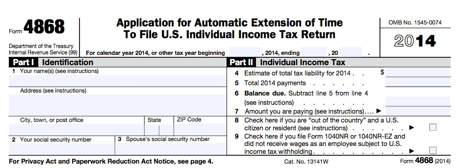 How to Fill Out Tax Form 4868 | FileLater